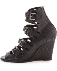Surface To Air - Black Leather Classic Buckle Wedges - Lyst