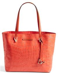 Diane von Furstenberg Women'S 'Ready To Go' Croc Embossed Shopper - Orange - Lyst