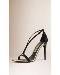 Burberry | Slim-Strap Suede Sandals | Lyst