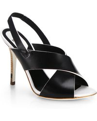 Fendi Claire Leather Slingback Sandals - Lyst