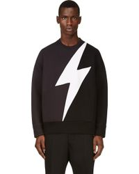 Neil Barrett Navy and Black Lightning Bolt Inset Sweatshirt - Lyst