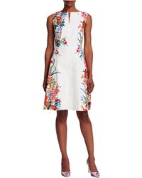 Adrianna Papell Floral Trimmed Shift Dress green - Lyst