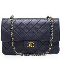 Chanel Preowned Blue Lambskin Vintage Medium Double Flap Bag - Lyst