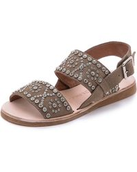 Jeffrey Campbell Patras Suede Embellished Sandals - Taupe/Silver - Lyst