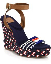 Tory Burch Leather & Braided Espadrille Wedge Sandals - Lyst