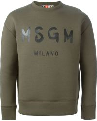 MSGM Green Logo Sweatshirt - Lyst
