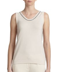Brunello Cucinelli Embellished Cashmere Top - Lyst