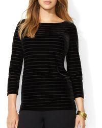 Ralph Lauren Lauren Plus Striped Velvet Shirt - Lyst