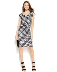 Calvin Klein Graphicprint Draped Blouson Dress - Lyst