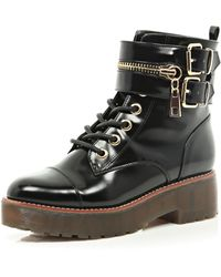 River Island Black Patent Chunky Biker Lace Up Boot - Lyst