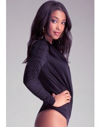 Bebe Shirred Sleeve Bodysuit - Lyst