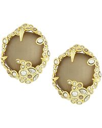 Alexis Bittar Crystal-Lace Button Clip-On Earrings - Lyst