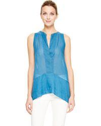 Donna Karan New York Blue Sleeveless Top - Lyst