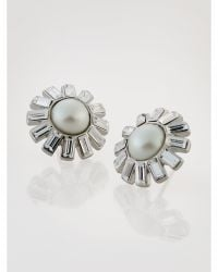 Ralph Lauren Faux Pearl Earrings white - Lyst
