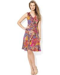Lauren by Ralph Lauren Sleeveless Ruffled Paisleyprint Dress - Lyst