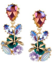 Betsey Johnson | Gold-tone Multi-stone Flower And Dragonfly Drop Earrings | Lyst