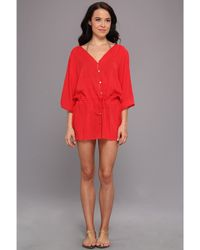 ViX Solid Adriana Caftan Cover Up - Lyst