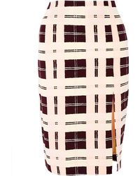 By Malene Birger Costanza Plaid Pencil Skirt with Slit - Lyst