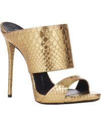 Giuseppe Zanotti Snake-Stamped Slide Sandals - Lyst