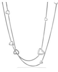 David Yurman Cable Heart Chain Necklace - Lyst