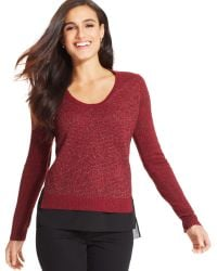 DKNY Jeans Mixed-Media Textured Sweater - Lyst
