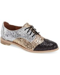 All Black - Glitter-Panelled Leather Saddle Shoes - Lyst