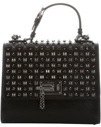 Dolce & Gabbana Black Leather Embellished 'Monica' Top Handle Bag - Lyst