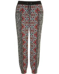 Topshop Petite Scarf Placement Print Joggers - Lyst