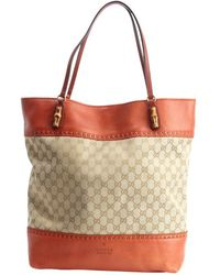Gucci Sand and Rust Canvas and Leather Tote Bag - Lyst