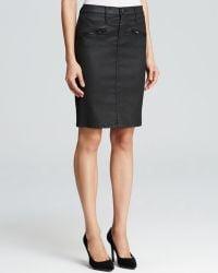Current/Elliott Skirt  The Soho Zip Stiletto Pencil in Black Coated - Lyst