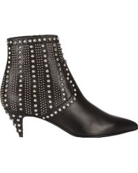 Saint Laurent Studded Cat Ankle Boots - Lyst