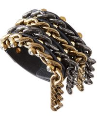 Lanvin - Woven Leather  Chain Crystal Cuff Bracelet - Lyst