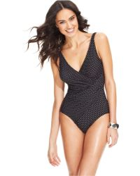 Miraclesuit Polka-dot Ruched One-piece Swimsuit - Lyst