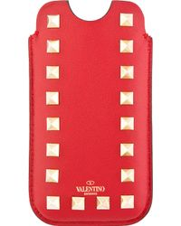 Valentino Red Studded Leather Iphone 5 Case - Lyst