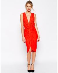 Asos Plunge Soft Twist Pencil Dress - Lyst