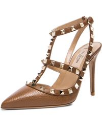 Valentino Rockstud Leather Slingbacks T.100 - Lyst