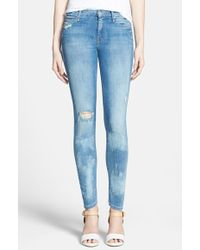 Mother 'The Looker' Distressed Skinny Jeans - Lyst