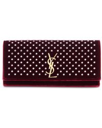 Saint Laurent Classic Monogram Embellished Velvet Clutch - Lyst