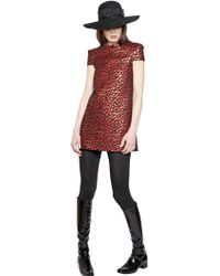Saint Laurent Leopard Techno Jacquard Dress - Lyst