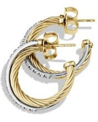 David Yurman Crossover Small Hoop Earrings with Diamonds in Gold - Lyst