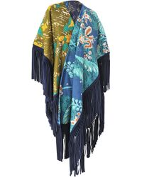 Burberry Prorsum - Embroidered Suede Tassels Poncho - Lyst