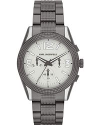 Karl Lagerfeld Unisex Chronograph Kurator Gunmetal Ionplated Stainless Steel Bracelet Watch 42mm - Lyst