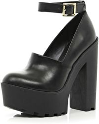 River Island Black Chunky Cleated Sole Platforms - Lyst