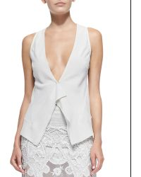 Donna Karan New York Sleeveless Blouse With Front Ruffle - Lyst