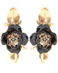Oscar de la Renta Flower Clip-On Earrings - Lyst