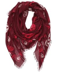 Alexander McQueen Red and Pink Woven Skull-printed Scarf - Lyst