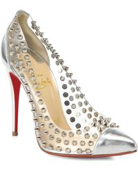Christian Louboutin Studded Metallic Leather Pumps - Lyst