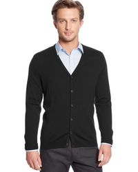 Calvin Klein Solid Merino Wool Cardigan Sweater - Lyst