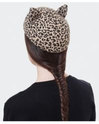 Helene Berman Leopard Cat Hat - Lyst