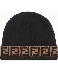 e1361e9063a44 Fendi - Ff Motif Trim Beanie Hats - Lyst